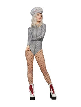 Adult Fever Miss Whiplash Disco Holographic Bodysuit