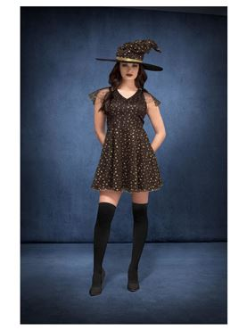 Adult Fever Moon & Stars Witch Costume - Side View