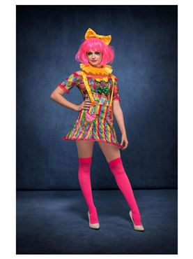 Adult Fever Patchwork Clown Costume - Back View