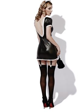 Adult Fever Role Play French Maid Costume - Back View