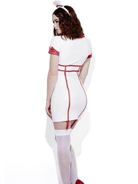 Adult Fever Role Play Nurse Costume - Side View