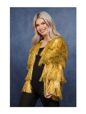 Adult Fever Tinsel Festival Jacket Gold