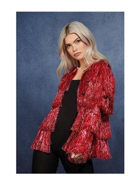 Adult Fever Tinsel Festival Jacket Red