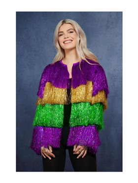 Adult Fever Tinsel Mardi Gras Jacket
