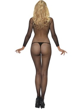 Adult Fishnet Sleeved Body Stocking - Side View
