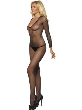 Adult Fishnet Sleeved Body Stocking - Back View