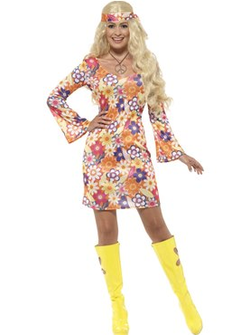 Adult Flower Hippie Costume Thumbnail