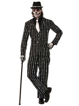 Adult Deluxe Bone Pin Stripe Suit Costume