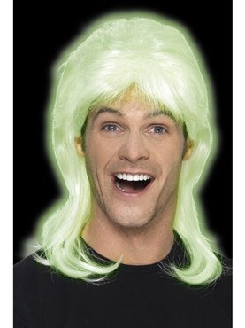 Adult Glow in the Dark Party Mullet Wig