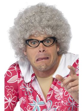 Adult Granny Perm Wig - Back View