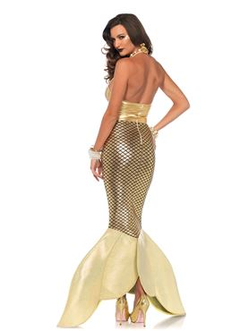 Adult Gold Glimmer Mermaid Costume - Back View