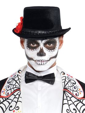 Adult Day of the Dead Top Hat - Back View