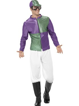 Adult Green and Purple Jockey Costume Thumbnail