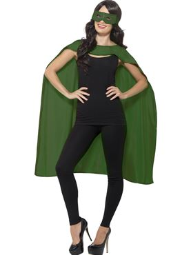 Adult Green Cape & Eye Mask Set - Back View