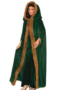 Adult Green Faux Fur Trimmed Cape