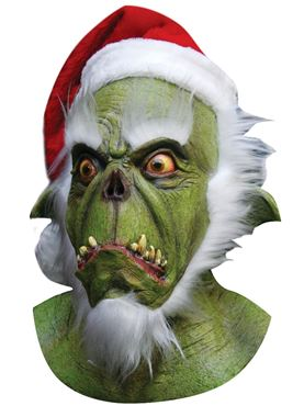 Adult Deluxe Green Santa Latex Mask