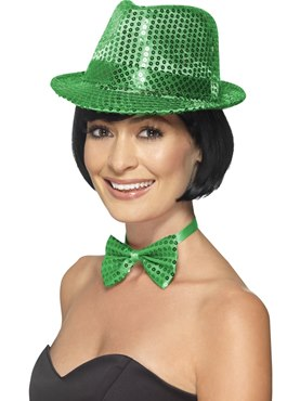 Adult Green Sequin Trilby Hat