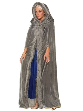 Adult Grey Faux Fur Trimmed Cape