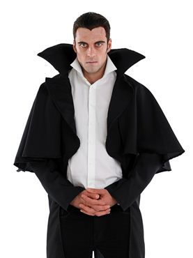Adult Black Vampire Coat - Back View