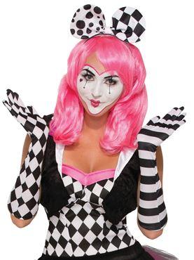 Adult Harlequin Clown Opera Gloves