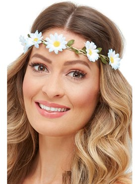 Adult Hawaiian Hippie Daisy Chain Headband - Side View