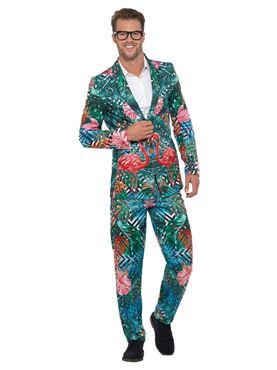 Adult Hawaiian Tropical Flamingo Suit - Side View