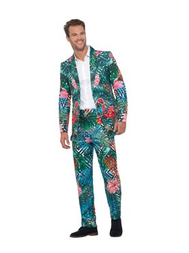 Adult Hawaiian Tropical Flamingo Suit