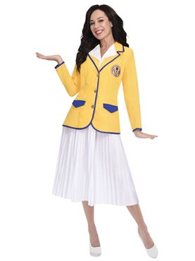 Adult Hi De Hi Female Yellow Coat Costume - Side View