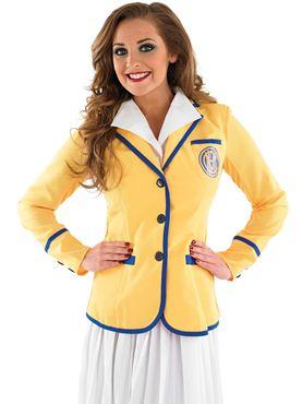 Adult Hi De Hi Female Yellow Coat Costume - Back View