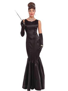 Adult High Society Long Black Dress Costume