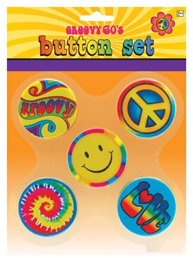 Adult Hippie Buttons Set
