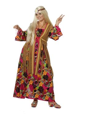 Adult Hippy Long Dress Costume - Back View