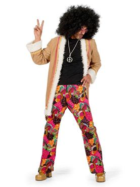 Adult Hippy Long Jacket Costume - Back View