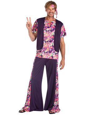 Adult Hippy Man Purple Costume Couples Costume