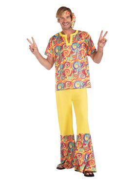 Adult Hippy Man Yellow Costume Couples Costume