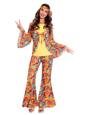 Adult Hippy Woman Costume Couples Costume