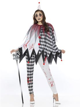 Adult Jester Clown Lady Costume - Side View