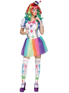 Ladies Crazy Colour Clown Costume