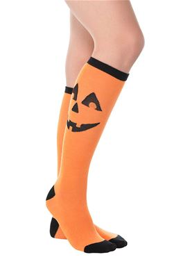 Adult Knee High Jack-O-Lantern Socks
