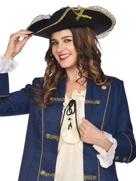 Adult Lace and Gold Trim Pirate Hat