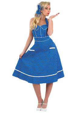 Adult Ladies 50s Blue Dress Costume Couples Costume