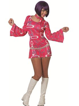Adult Ladies 60s Hippy Dress Costume