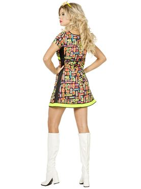 Adult Ladies 60s Neon Pop Art Costume - Side View