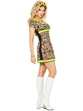 Adult Ladies 60s Neon Pop Art Costume - Back View