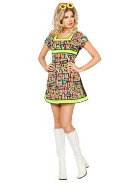 Adult Ladies 60s Neon Pop Art Costume