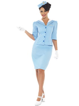 Adult Ladies Blue Air Hostess Costume Couples Costume