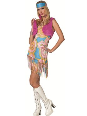 Adult Ladies Hippy Fringed Dress Costume