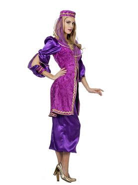 Adult Ladies Purple Oriental Bollywood Costume - Back View