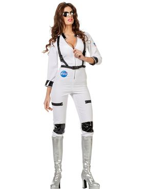 Adult Ladies Sexy Astronaut Costume - Back View
