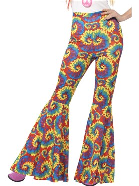 Adult Ladies Tie Dye Flared Trousers